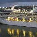 Cruises to Barbados ship at night